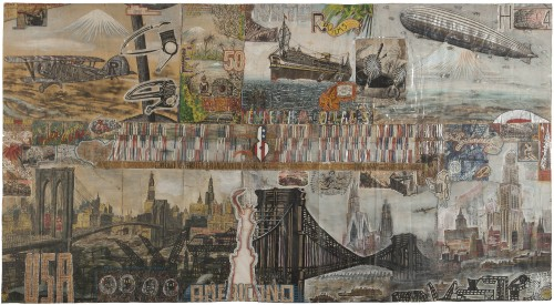 Willem van Genk. Untitled (Brooklyn Bridge), 1960. Mixed media on paper. Unframed: 38 ½ x 70 inches (98 x 178 cm). Framed: 43 x 74 inches (109,5 x 188 cm). Collection De Stadshof, Museum Dr. Guislain, Ghent, OS1102125. Photo: Guido Suykens, Ghent
