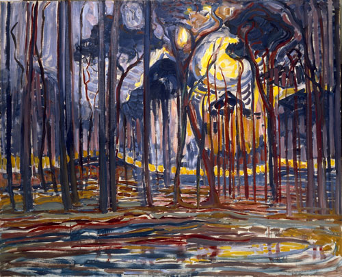 Piet Mondrian. Bosch (woods) near Oele, 1908. Oil on canvas, 155.2 x 186.0 cm. Collection of Gemeentemuseum Den Haag.