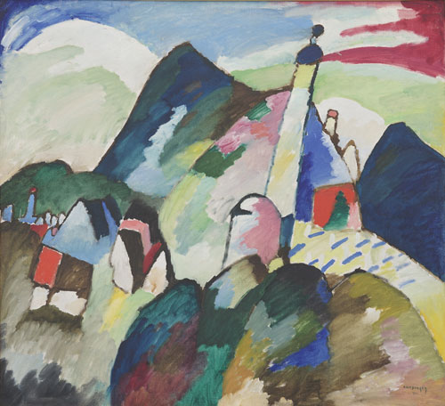 Wassily Kandinsky. Murnau with Church II, 1910. Oil on canvas, 96 x 105.5 cm. Van Abbemuseum, Eindhoven.