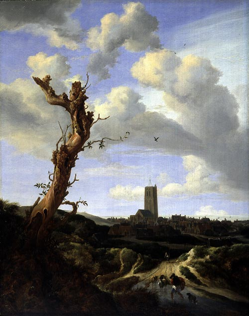 Jacob van Ruisdael. <em>View of Egmond aan Zee with a Blasted Elm</em>, 1648. Oil on panel, 65.09 x 49.85 cm. Currier Museum of Art, Manchester, NH Museum Purchase Currier Funds. 1950. Photo Jeff Nintzel.