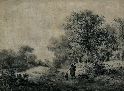 Jacob van Ruisdael. <em>Hunter with Three Dogs Entering a Wood</em>, 1646. Black chalk, brush, pen and grey wash. 28.4 x 38.5 cm. Staatliche Museen zu Berlin, Kupferstichkabinett. Photo © Bildarchiv Preussischer Kulturbesitz.