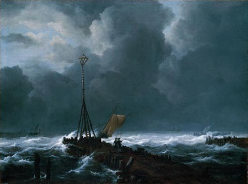 Jacob van Ruisdael. <em>Rough Sea at a Jetty</em>, c. 1652-55. Oil on canvas, 98.5 x 131.4 cm. Kimbell Art Museum, Fort Worth, Texas, AP. Photo © 2006 Kimbell Art Museum/Michael Bodycomb.