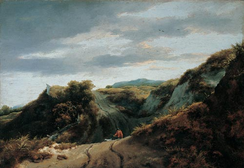 Jacob van Ruisdael. <em>Dunes</em>, 1650s. Oil on panel, 33.5 x 49.2 cm. Philadelphia Museum of Art; John G. Johnson Collection, 1917, 563. Photo © Philadelphia Museum of Art.