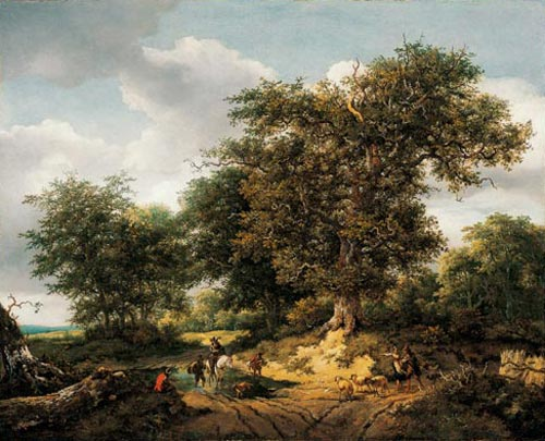 Jacob van Ruisdael. <em>The Great Oak</em>, 1652. Oil on canvas, 85.1 x 104.3 cm. Los Angeles County Museum of Art. Gift of Mr and Mrs Edward William Carter in honour of the museum's 25th anniversary. Photo © 2005 Museum Associates/LACMA.