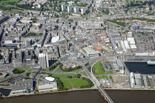 Dundee Waterfront. Existing aerial view.