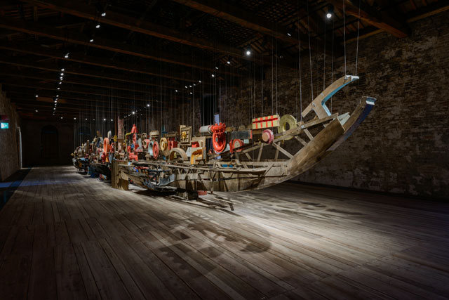 Turkey Pavilion. Darzanà: Two Arsenals, One Vessel. A 30 metre long vessel built from scrap reclaimed from a Turkish shipyard is intended to evoke the historic conflicts and competition between the Ottoman and Venetian empires and provoke discussions on thresholds and consensus.