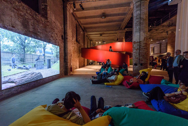 UK practice Assemble provided some light relief and rest among all the text panels: their installation, titled The Voice of Children, was styled like a playground.