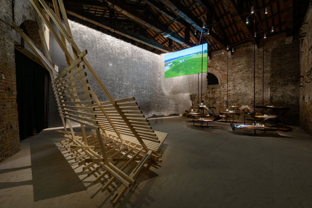 Chile Pavilion, Against the Tide, curated by Juan Román and José Luis Uribe, presents 15 architecture projects that aim to transform the daily life of rural people in Chile.