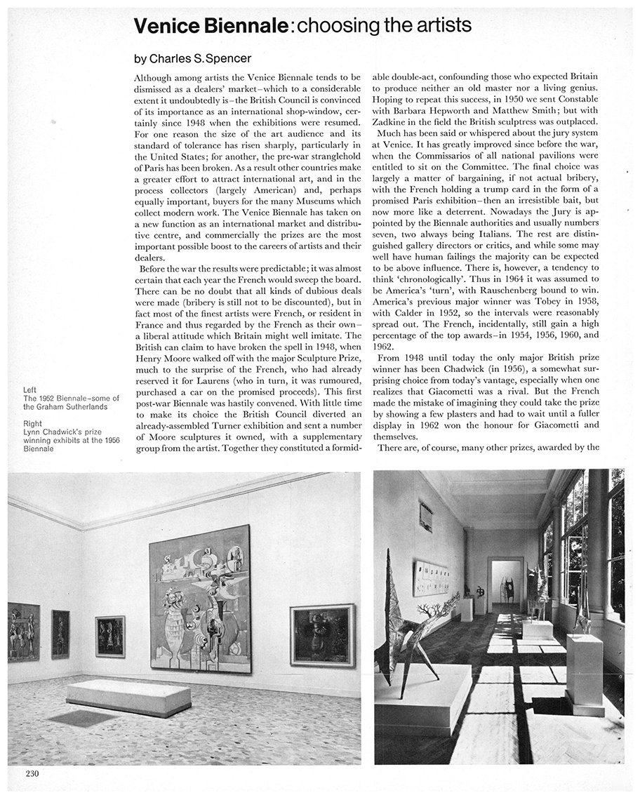 Venice Biennale: choosing the artists. Studio International, Vol 171, No 878, June 1966, pages 230-32.