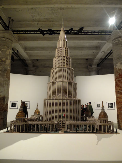 Marino Auriti. Il Enciclopedico Palazzo del Mondo (The Encyclopaedic Palace of the World). At 11 feet high, the model's 1:200 scale would translate to half a mile high. Photograph: Dorothy Feaver.