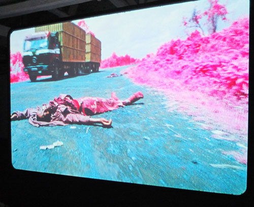 Richard Mosse. The Enclave. Multiple screens, infrared 16mm film, soundtrack by Ben Frost. Photograph: Dorothy Feaver.