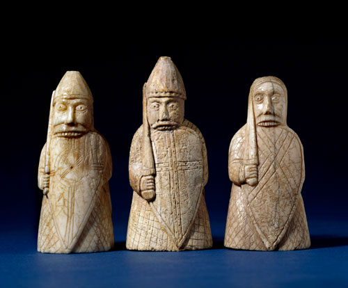 The Lewis Chessmen, berserkers. Late 12th century, Uig, Lewis, Scotland. Walrus ivory © The Trustees of the British Museum.