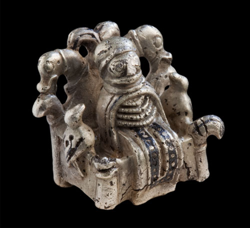 Odin or völva figure, 800-1050. Lejre, Zealand, Denmark. Silver with niello. Photo: Ole Malling, Roskilde Museum.