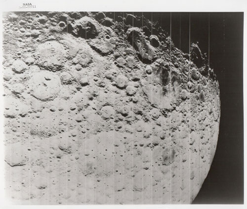 Lunar surface and horizon, Lunar Orbiter II, November 1966, Vintage gelatin silver print, c20 x 25 cm, NASA S66-68711. Courtesy Breese Little.