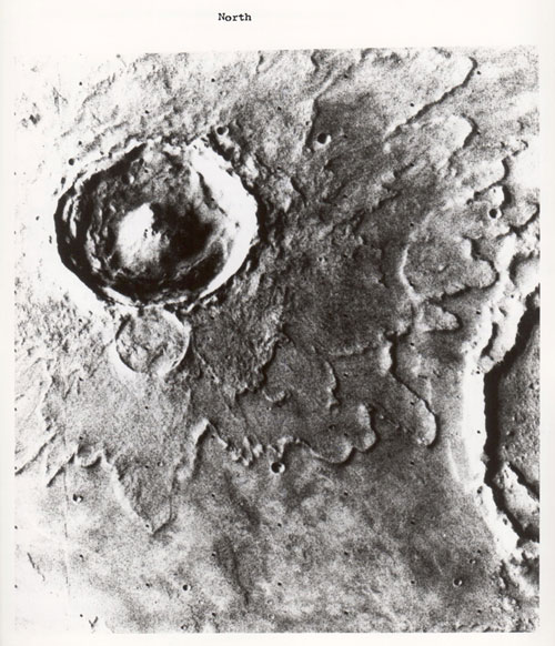 Mars, Yuty crater with fluidised ejecta, Viking Orbiter, June 1978, Vintage gelatin silver print, c20 x 25 cm, NASA_JPL 3A07. Courtesy Breese Little.