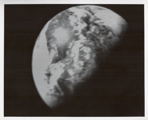 The Earth, a still from the live telecast, Apollo 8, December 1968, Vintage gelatin silver print, c20 x 25cm. Courtesy Breese Little.