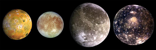 The Galilean moons: Io, Europa, Ganymede and Callisto. Galileo orbiter spacecraft, 1996–97. Solid-State Imaging (CCD) System
