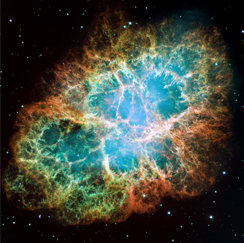 The Crab Nebula (M1). Hubble Space Telescope, 2005. Wide Field Planetary Camera 2. Stars like our Sun die slowly, gently expelling their outer layers over millions of years. But for stars more than ten times as massive as the Sun the end is extremely violent. When its nuclear fuel runs out, the core of the star collapses, triggering a huge explosion which rips the outer layers of the star apart, blasting them outwards. The Crab Nebula is the debris from one of these 'supernova' explosions. © NASA/ESA/J. Hester and A. Loll (Arizona State University): http://hubblesite.org/gallery/album/pr2005037a/