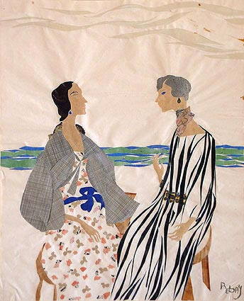 Hilla Von Rebay. <em>Two Women at the Beach</em>, c.1928. Collage on paper 17