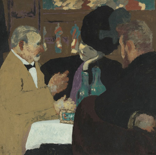 Édouard Vuillard. <em>At the Cafe</em></a>, c1898-9. Gouache and distemper on board.  Private collection.