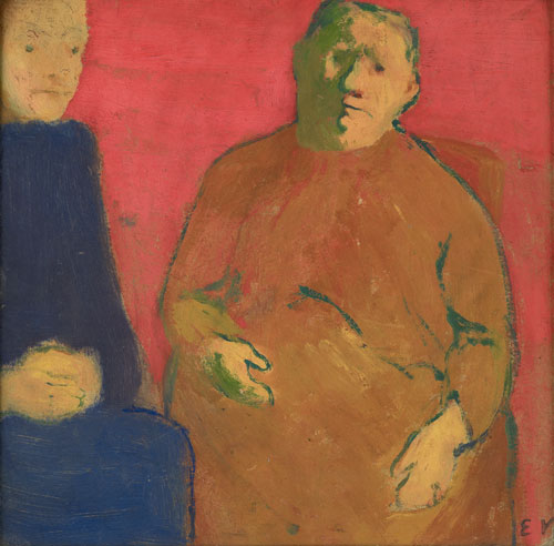 Édouard Vuillard.<em> Mother and Daughter Against a Red Background</em>, 1891. Oil on cardboard. Private collection.