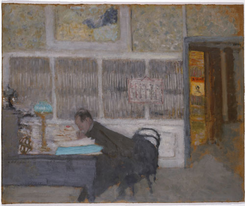Édouard Vuillard.<em> At the Revue Blanche (Félix Fénéon)</em>, 1897-98. Oil on cardboard. Solomon R. Guggenheim Museum, New York, the Hilla Rebay Collection.
