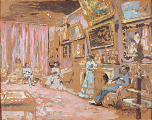 Édouard Vuillard.<em> Messieurs and Mesdames Josse and Gaston Bernheim-Jeune, Avenue Henri-Martin</em>, 1905. Oil on cardboard, on panel.  Collection of Guy-Patrice Dauberville, courtesy of the Galerie Bernheim-Jeune, Paris.