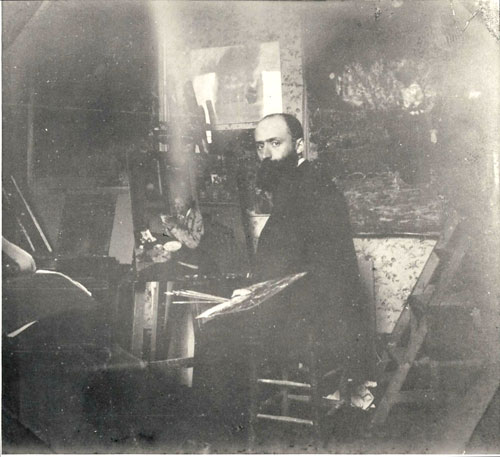 Édouard Vuillard in his studio at 56 Rue des Batignolles, Paris, c1898. Private collection.