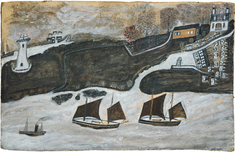 Alfred Wallis. Two ships and steamer sailing past a port – Falmouth and St. Anthony lighthouse, c1931. Oil on card, 26.3 x 40.9 cm. Courtesy of Kettle's Yard, University of Cambridge.