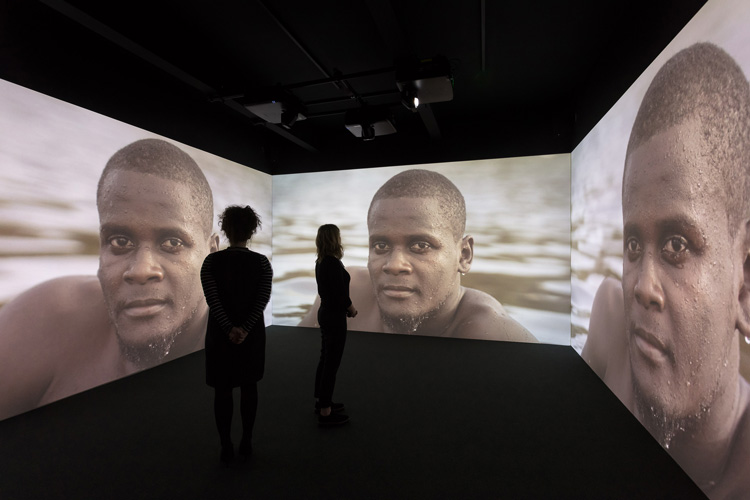 Kehinde Wiley, Narrenschiff, 2017. Three-channel projection, installation view, Levinsky Gallery, University of Plymouth, 2020.