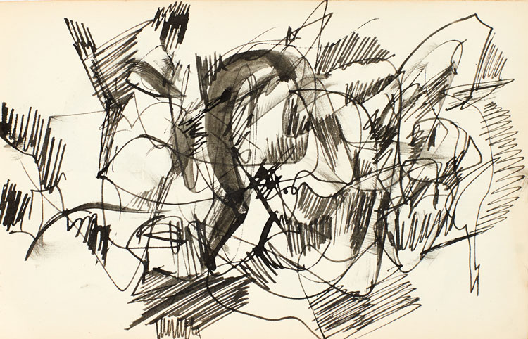 Anthony Whishaw. Sketchbook drawings, 1961. Ink on paper, 11.5 x 18 cm. © the artist.