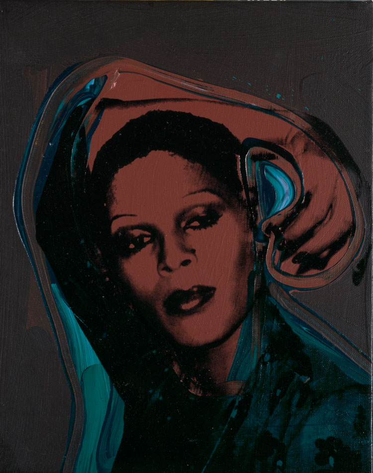 Andy Warhol. Ladies and Gentlemen (Iris), 1975. Acrylic paint and silkscreen ink on canvas, 35.6 x 27.9 cm. Italian private collection. © 2020 The Andy Warhol Foundation for the Visual Arts, Inc. / Licensed by DACS, London.