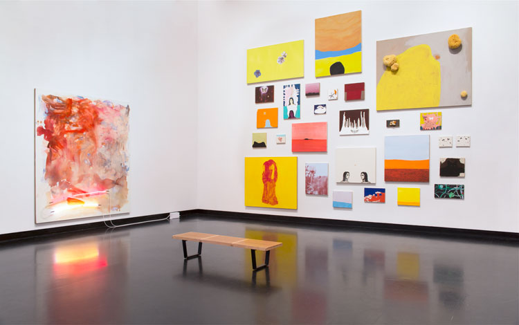 Mary Weatherford: Canyon–Daisy–Eden, installation view, Frances Young Tang Teaching Museum and Art Gallery at Skidmore College, 2020. Photo: Arthur Evans.