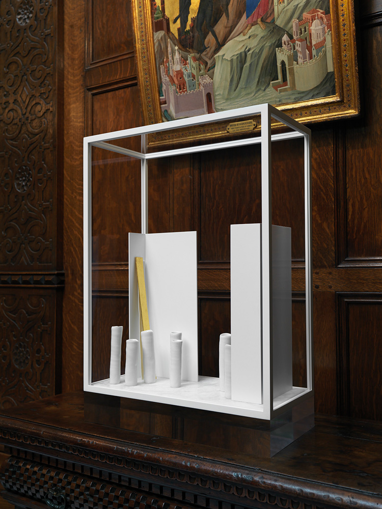 Edmund de Waal, The Temptation of Christ on the Mountain, I, 2019. Porcelain, steel, gold, alabaster, aluminum, and plexiglass, on view in the Enamels Room, 23 1/4 × 16 9/16 × 8 1/4 in. © Edmund de Waal. Courtesy the artist and The Frick Collection. Photo: Christopher Burke.