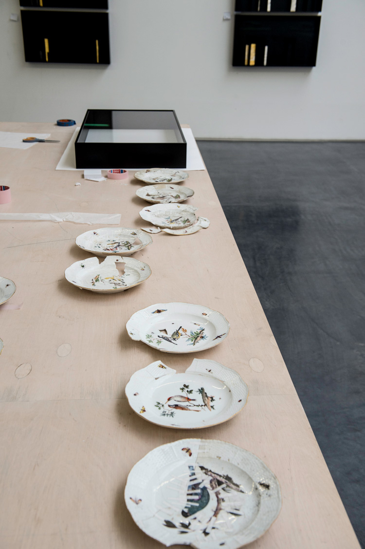 Edmund de Waal's studio, porcelain repairs. Photo: Nick Howard.