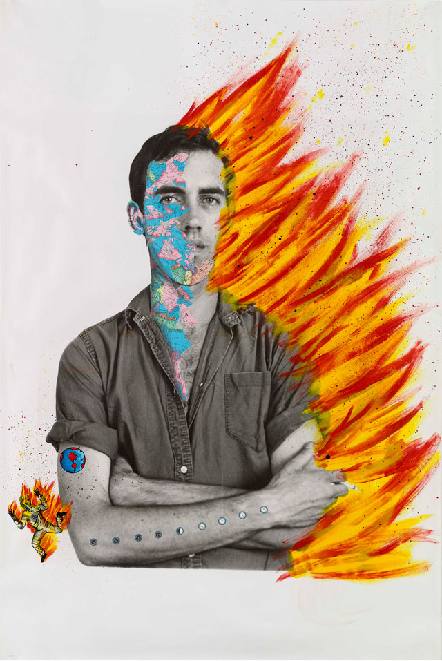David Wojnarowicz with Tom Warren, Self-Portrait of David Wojnarowicz, 1983–84. Acrylic and collaged paper on gelatin silver print, 152.4 × 101.6 cm. Collection of Brooke Garber Neidich and Daniel Neidich. Photograph courtesy Museo Reina Sofia.