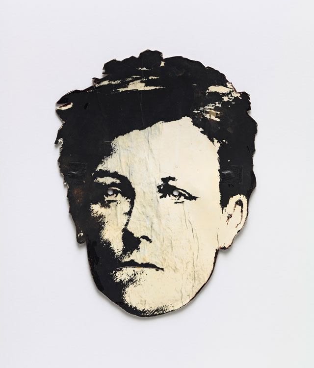 David Wojnarowicz, Rimbaud mask, c1978. Photocopy mounted on cardstock, with rubber bands, 29.5 × 22.5 cm. Courtesy the Fales Library and Special Collections, NewYork University. Photograph courtesy Museo Reina Sofia.