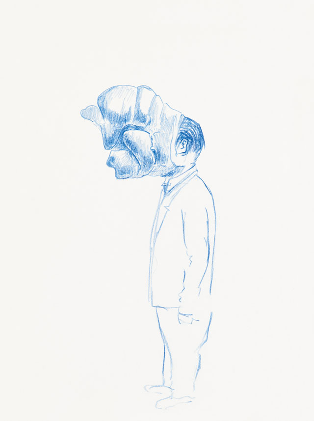 Erwin Wurm, Untitled, 2017. Crayon on paper, 29.7 x 21 cm. Courtesy Galerie Thaddaeus Ropac, London, Paris, Salzburg. © Erwin Wurm/DACS, 2019.