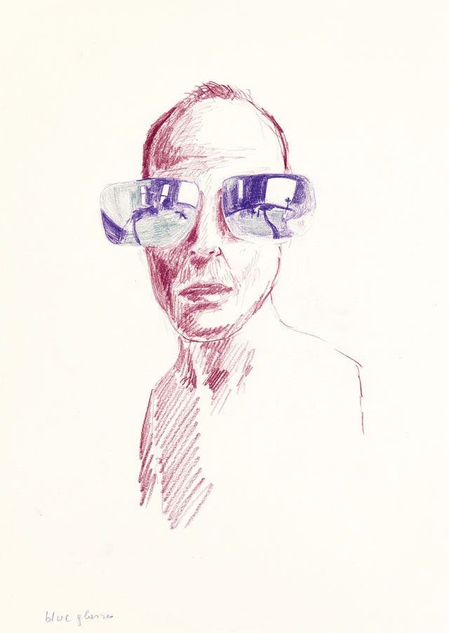 Erwin Wurm, Blue Glasses, 2016 – 2017. Crayon on paper, 42 x 29.7 cm. Courtesy Galerie Thaddaeus Ropac, London, Paris, Salzburg. © Erwin Wurm/DACS, 2019.