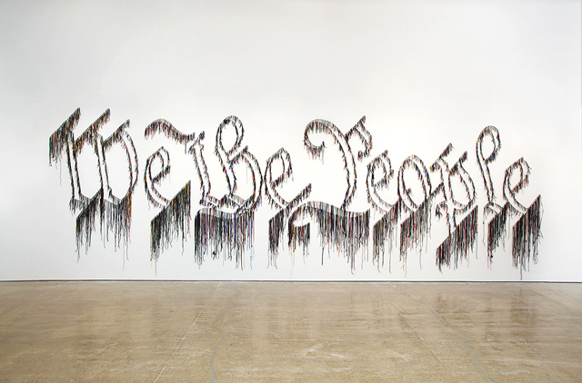 Nari Ward. We the People, 2011. Shoelaces, 96 x 324 in (243.8 × 594.4 cm). In collaboration with the Fabric Workshop and Museum, Philadelphia. Collection Speed Art Museum, Louisville, KY; Gift of the Speed Contemporary, 2016.1. © The Speed Art Museum, Louisville, KY.