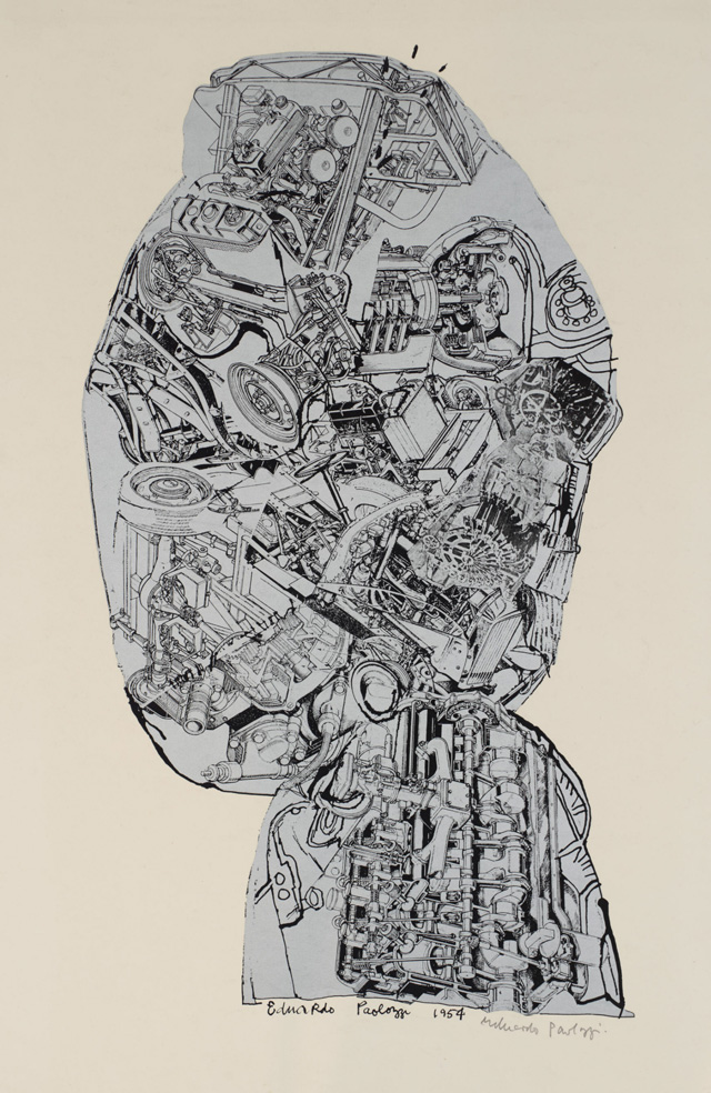 Eduardo Paolozzi. Automobile Head, 1954/62. Screenprint on paper, 61.6 x 41.3cm. Collection: Tate, presented by Rose and Chris Prater through the Institute of Contemporary Prints 1975. © Trustees of the Paolozzi Foundation, Licensed by DACS 2018.