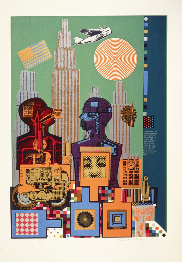 Eduardo Paolozzi. Wittgenstein in New York (from As is When), 1964. Print, screenprint on paper, 76.5 x 66 cm. Collection: National Galleries of Scotland, purchased 2001. © Trustees of the Paolozzi Foundation, Licensed by DACS 2018.