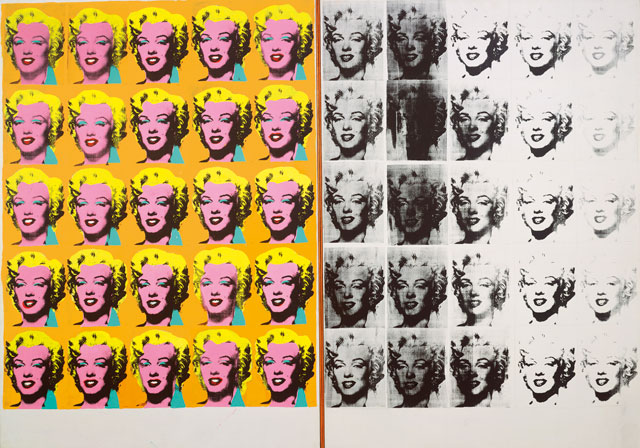 Andy Warhol. Marilyn Diptych, 1962. Acrylic, silkscreen ink, and graphite on linen, two panels: 80 7/8 x 114 in (205.4 x 289.6 cm) overall. Tate, London; purchase 1980 © The Andy Warhol Foundation for the Visual Arts, Inc. / Artists Rights Society (ARS) New York.