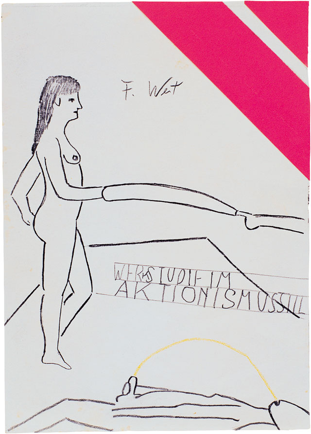 Franz West, Untitled (drawing from actionist inspiration), c1974. Pen, self-adhesive papers on paper, 21 × 15 cm. Franz West Privatstiftung / Estate Franz West, Vienna. Photo © DR / All rights reserved.