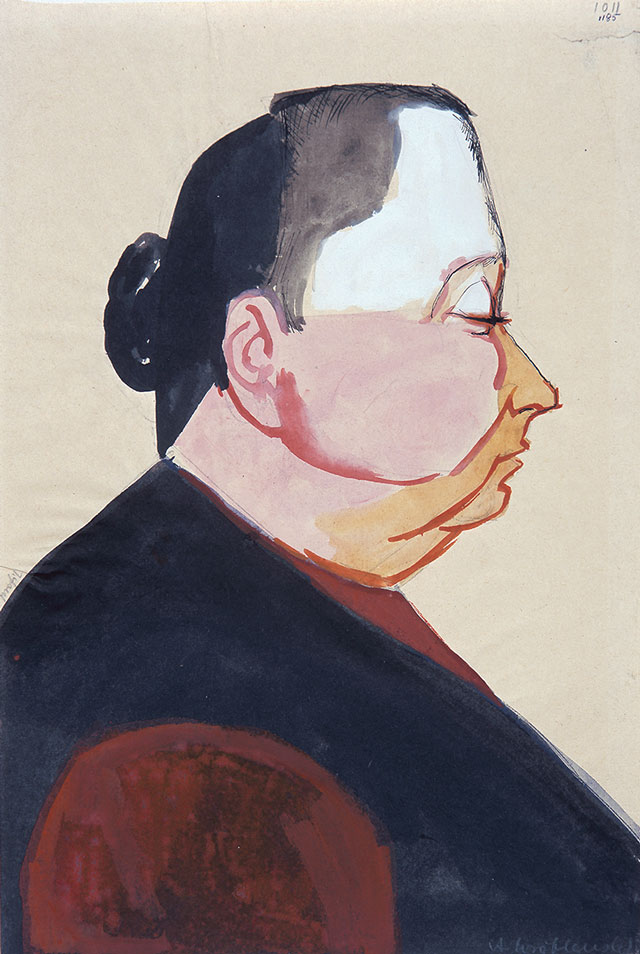 Andrzej Wróblewski. (Profile), [Profile no. 1011], undated. Watercolour and gouache on paper, 27.3 x 25 cm. Private collection. © Andrzej Wróblewski Foundation.
