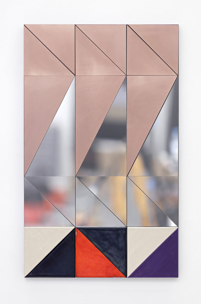 Claudia Wieser. Untitled, 2017. Copper, mirror-polished stainless steel, and ceramic on MDF, 29 3/4 x 18 1/8 x 1 1/8 in (75.6 x 46 x 2.9 cm). Courtesy of the artist and Marianne Boesky Gallery, New York and Aspen. © Claudia Wieser. Photograph: Object Studies.