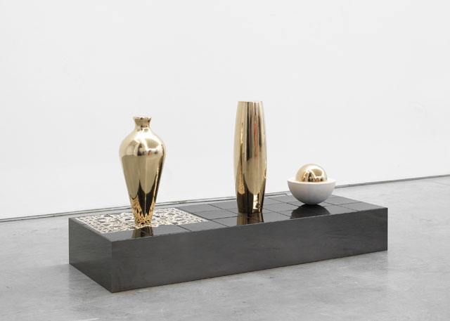 Claudia Wieser. Untitled, 2017. Gold leaf on wood, ceramic, and mirror-polished stainless steel on MDF,