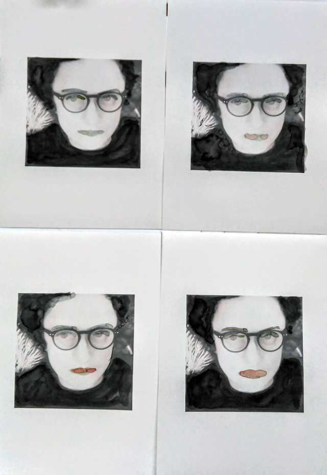 Lisa Gornick. 4 of me by me, 2018-01-09. Photo print on cartridge paper with watercolour and ink, four x A4. © the artist. © the artist.