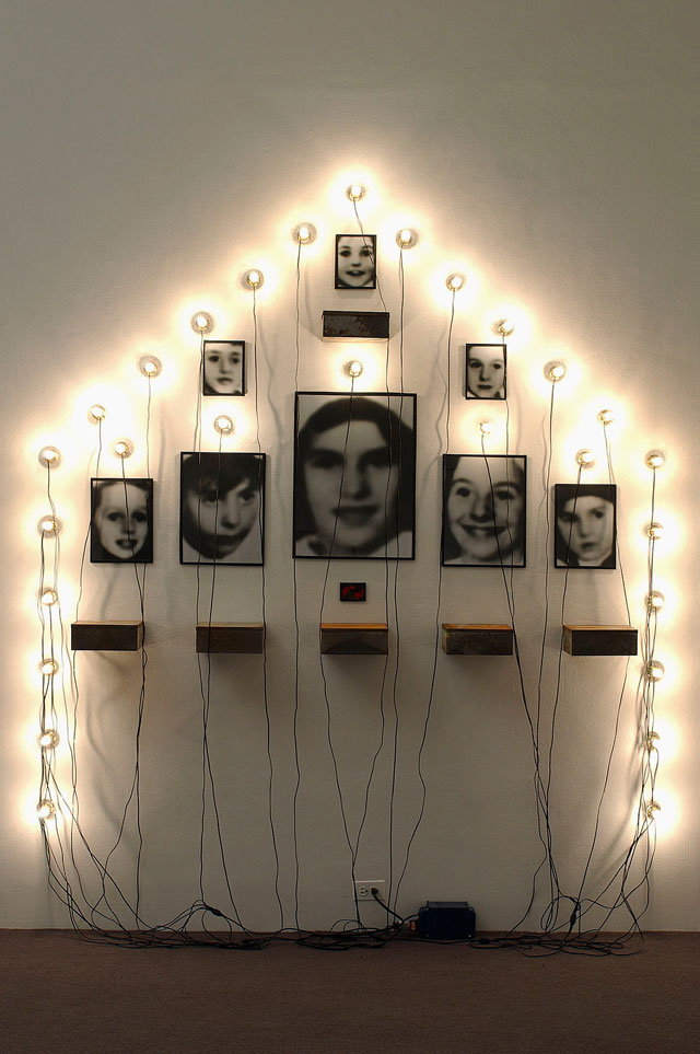 Christian Boltanski. Monument, 1989. Photographs, tin, lightbulbs, sockets, and transformer, 104 x 90 in.  Joseph H. Hirshhorn Bequest Fund, 2002. Courtesy Hirshhorn Museum and Sculpture Garden. Photograph: Lee Stalsworth.