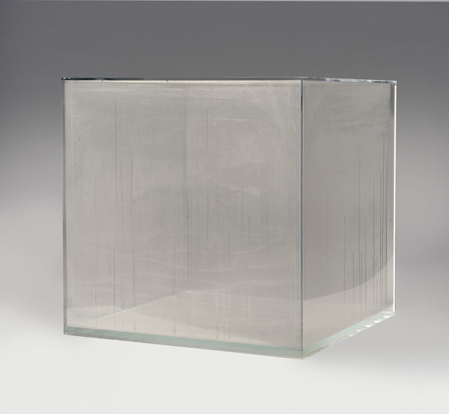 Hans Haacke. Condensation Cube, 1963 (fabricated 2008). Plastic and water, 30 x 30 x 30 in. Museum Purchase, 2008. Courtesy Hirshhorn Museum and Sculpture Garden. Photograph: Lee Stalsworth.